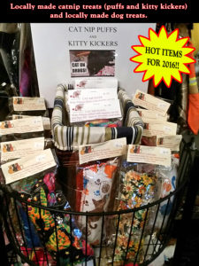 Locally made catnip treats (puffs and kitty kickers)and locally made dog treats.